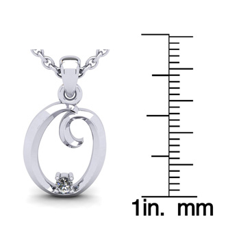 Diamond Accent O Swirly Initial Necklace In White Gold With Free 18 Inch Cable Chain