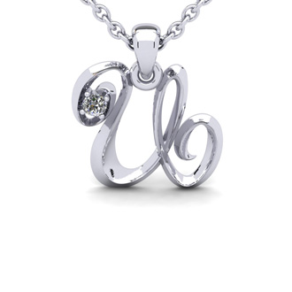 Diamond Accent U Swirly Initial Necklace In White Gold With Free 18 Inch Cable Chain