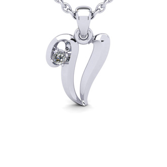 Diamond Accent V Swirly Initial Necklace In White Gold With Free 18 Inch Cable Chain