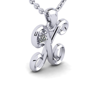 Diamond Accent X Swirly Initial Necklace In White Gold With Free 18 Inch Cable Chain