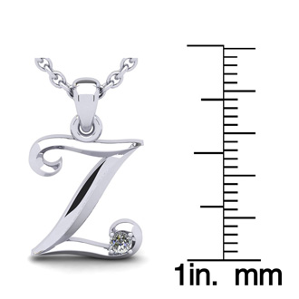 Diamond Accent Z Swirly Initial Necklace In White Gold With Free 18 Inch Cable Chain