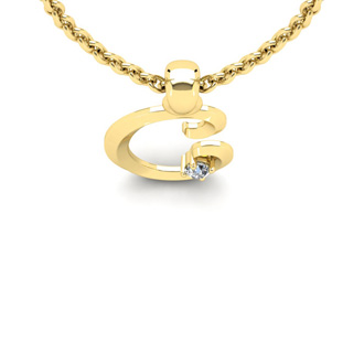 Diamond Accent C Swirly Initial Necklace In Yellow Gold With Free 18 Inch Cable Chain