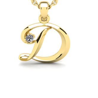 Diamond Accent D Swirly Initial Necklace In Yellow Gold With Free 18 Inch Cable Chain