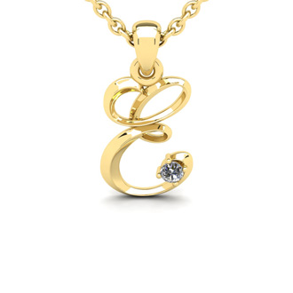 Diamond Accent E Swirly Initial Necklace In Yellow Gold With Free 18 Inch Cable Chain