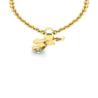 Diamond Accent F Swirly Initial Necklace In Yellow Gold With Free 18 Inch Cable Chain