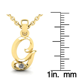 Diamond Accent G Swirly Initial Necklace In Yellow Gold With Free 18 Inch Cable Chain