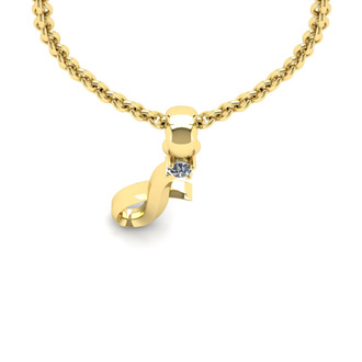 Diamond Accent I Swirly Initial Necklace In Yellow Gold With Free 18 Inch Cable Chain