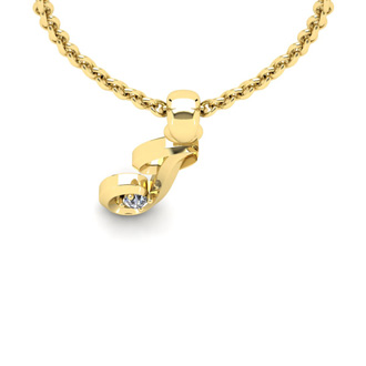 Diamond Accent J Swirly Initial Necklace In Yellow Gold With Free 18 Inch Cable Chain