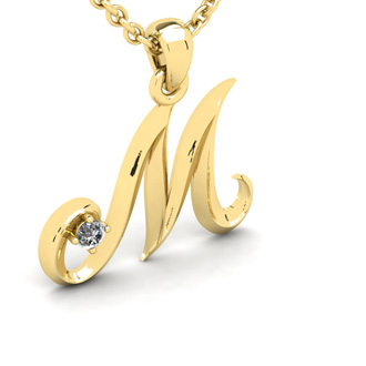 Diamond Accent M Swirly Initial Necklace In Yellow Gold With Free 18 Inch Cable Chain