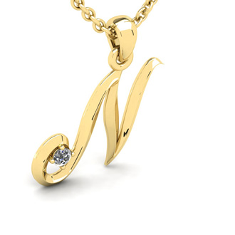 Diamond Accent N Swirly Initial Necklace In Yellow Gold With Free 18 Inch Cable Chain