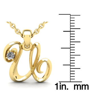 Diamond Accent U Swirly Initial Necklace In Yellow Gold With Free 18 Inch Cable Chain