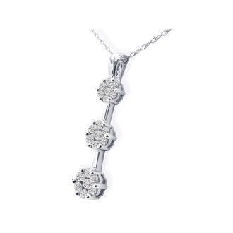 Bargain Priced 1/2ct Invisibly Set Diamond Pendant in 10k White Gold