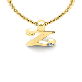 Diamond Accent Z Swirly Initial Necklace In Yellow Gold With Free 18 Inch Cable Chain