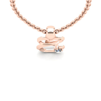 Diamond Accent E Swirly Initial Necklace In Rose Gold With Free 18 Inch Cable Chain
