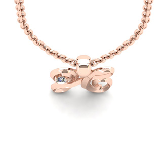 Diamond Accent H Swirly Initial Necklace In Rose Gold With Free 18 Inch Cable Chain