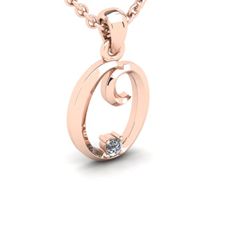 Diamond Accent O Swirly Initial Necklace In Rose Gold With Free 18 Inch Cable Chain