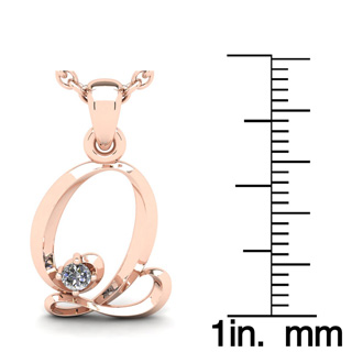 Diamond Accent Q Swirly Initial Necklace In Rose Gold With Free 18 Inch Cable Chain
