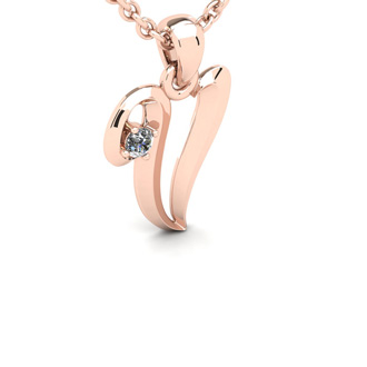 Diamond Accent V Swirly Initial Necklace In Rose Gold With Free 18 Inch Cable Chain