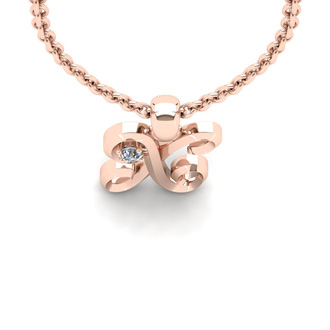 Diamond Accent X Swirly Initial Necklace In Rose Gold With Free 18 Inch Cable Chain