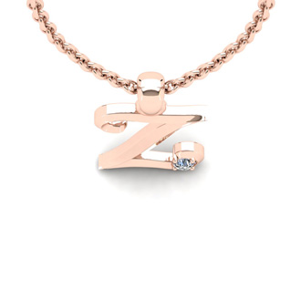 Diamond Accent Z Swirly Initial Necklace In Rose Gold With Free 18 Inch Cable Chain