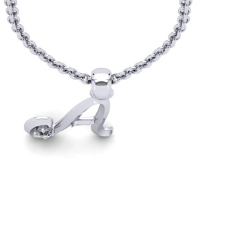Diamond Accent A Swirly Initial Necklace In 14K White Gold With Free 18 Inch Cable Chain