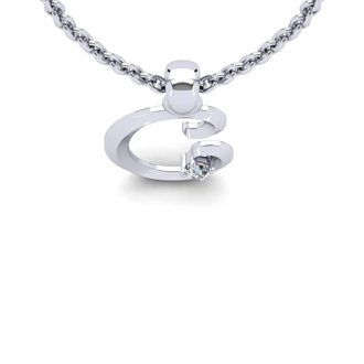 Diamond Accent C Swirly Initial Necklace In 14K White Gold With Free 18 Inch Cable Chain