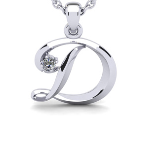 Diamond Accent D Swirly Initial Necklace In 14K White Gold With Free 18 Inch Cable Chain