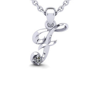 Diamond Accent F Swirly Initial Necklace In 14K White Gold With Free 18 Inch Cable Chain