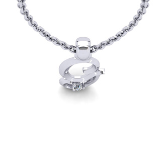 Diamond Accent G Swirly Initial Necklace In 14K White Gold With Free 18 Inch Cable Chain