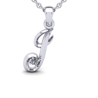Diamond Accent J Swirly Initial Necklace In 14K White Gold With Free 18 Inch Cable Chain