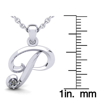 Diamond Accent P Swirly Initial Necklace In 14K White Gold With Free 18 Inch Cable Chain