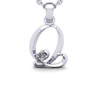 Diamond Accent Q Swirly Initial Necklace In 14K White Gold With Free 18 Inch Cable Chain