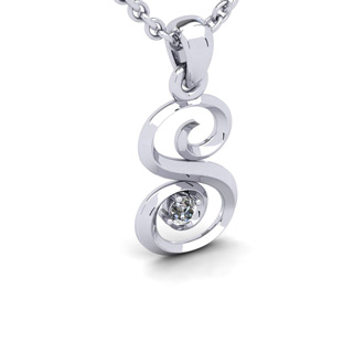 Diamond Accent S Swirly Initial Necklace In 14K White Gold With Free 18 Inch Cable Chain