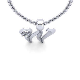 Diamond Accent W Swirly Initial Necklace In 14K White Gold With Free 18 Inch Cable Chain
