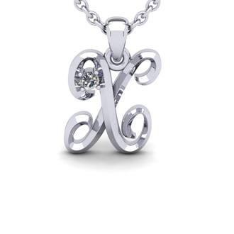 Diamond Accent X Swirly Initial Necklace In 14K White Gold With Free 18 Inch Cable Chain