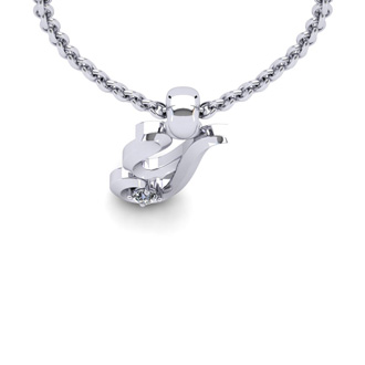 Diamond Accent Y Swirly Initial Necklace In 14K White Gold With Free 18 Inch Cable Chain