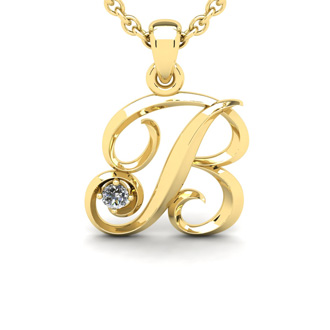 Diamond Accent B Swirly Initial Necklace In 14K Yellow Gold With Free 18 Inch Cable Chain
