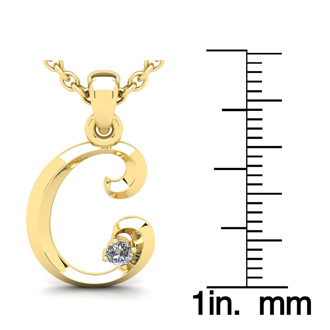 Diamond Accent C Swirly Initial Necklace In 14K Yellow Gold With Free 18 Inch Cable Chain