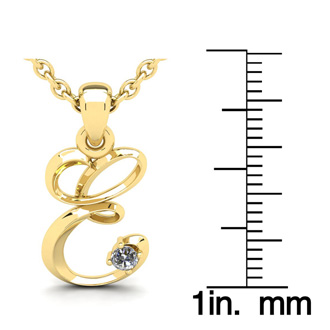 Diamond Accent E Swirly Initial Necklace In 14K Yellow Gold With Free 18 Inch Cable Chain