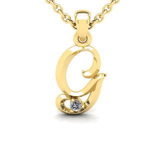 Diamond Accent G Swirly Initial Necklace In 14K Yellow Gold With Free 18 Inch Cable Chain