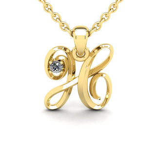 Diamond Accent H Swirly Initial Necklace In 14K Yellow Gold With Free 18 Inch Cable Chain
