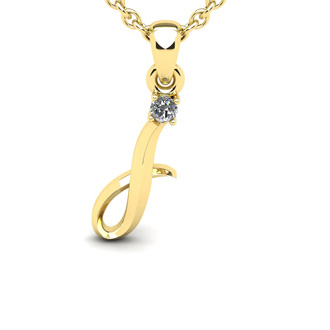 Diamond Accent I Swirly Initial Necklace In 14K Yellow Gold With Free 18 Inch Cable Chain