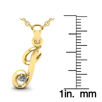 Diamond Accent J Swirly Initial Necklace In 14K Yellow Gold With Free 18 Inch Cable Chain