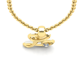 Diamond Accent L Swirly Initial Necklace In 14K Yellow Gold With Free 18 Inch Cable Chain