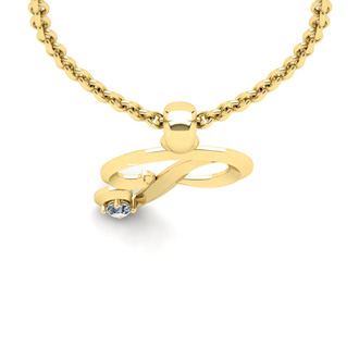 Diamond Accent P Swirly Initial Necklace In 14K Yellow Gold With Free 18 Inch Cable Chain