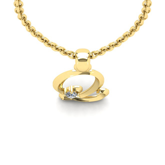 Diamond Accent Q Swirly Initial Necklace In 14K Yellow Gold With Free 18 Inch Cable Chain