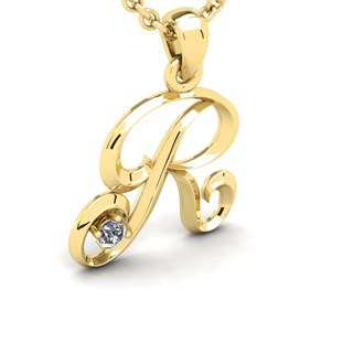 Diamond Accent R Swirly Initial Necklace In 14K Yellow Gold With Free 18 Inch Cable Chain