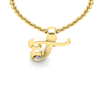 Diamond Accent T Swirly Initial Necklace In 14K Yellow Gold With Free 18 Inch Cable Chain