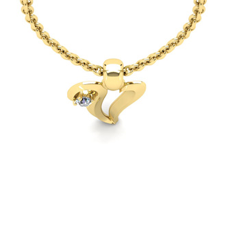 Diamond Accent V Swirly Initial Necklace In 14K Yellow Gold With Free 18 Inch Cable Chain