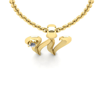 Diamond Accent W Swirly Initial Necklace In 14K Yellow Gold With Free 18 Inch Cable Chain